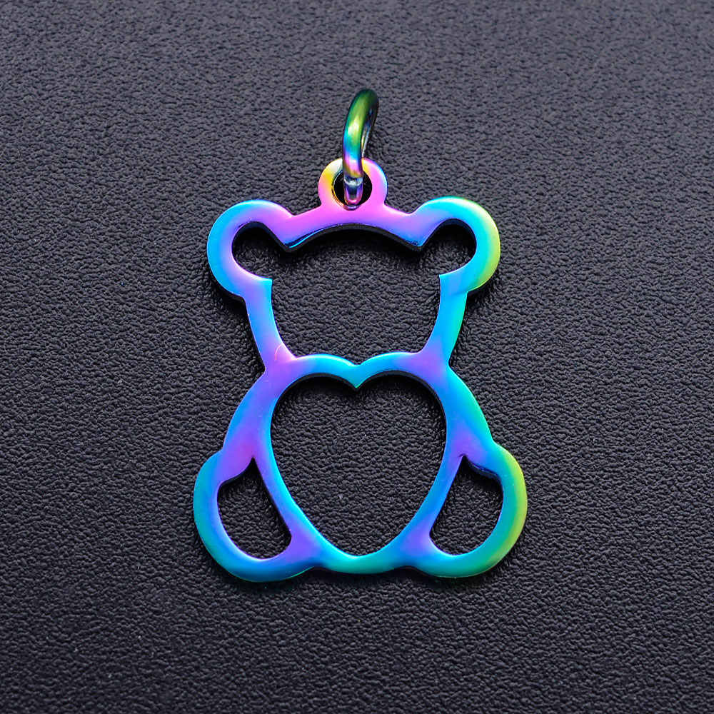 5 pz/lotto favoloso arcobaleno di colore del gatto del cane zampa fai da te in acciaio inox commercio all'ingrosso di fascino orso colomba collana fascini del pendente dell'elefante