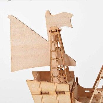 Modèle à construire Jouet En Bois Puzzle Assemblage Modèle DIY Bateau À Voile Jouets 3D 2