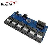 Wanglink 6F2E 10/100M 2 RJ45 6 155M SC Port światłowodowy szybki przełącznik ethernetowy konwerter 20KM PCBA