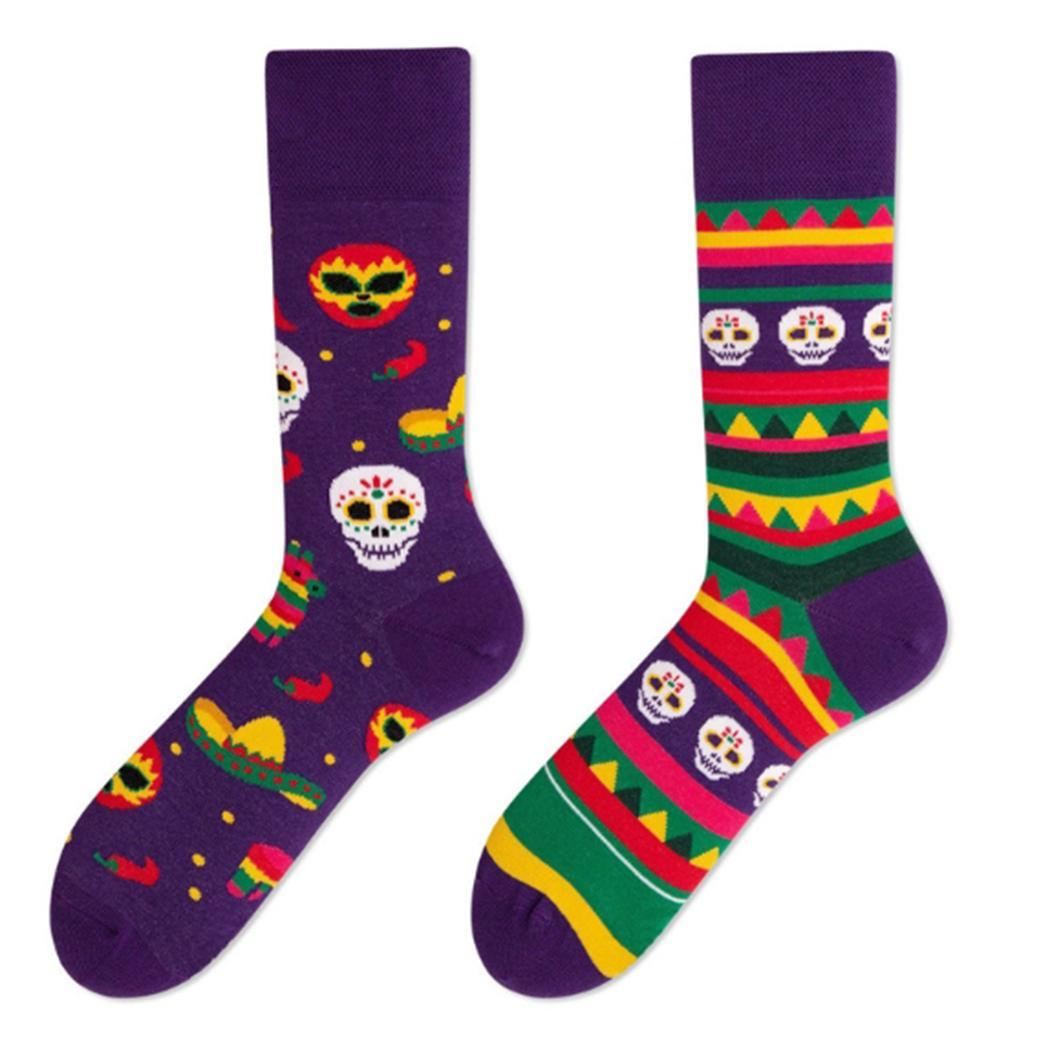 Creative Unisex Couple Cool Novelty Casual Printed 21cm Cotton As Picture In-with Tube 23cm Socks