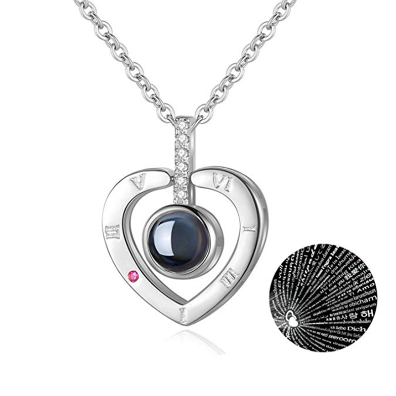 Rose Gold 100 Languages I Love You Projection Pendant Necklace for women Jewelry Love Memory Wedding Necklace Valentine's Day