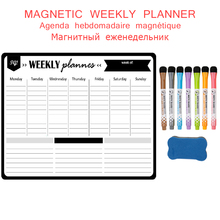 Magnetic Weekly Monthly Work Planner Wall Sticker Fridge Magnet Writing Drawing Memo Schedule Erasable Penboard Black Whiteboard