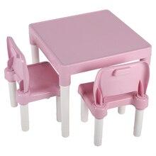 Childrens Kids Plastic Table Chair Set Learning Studying Desk for Home Kindergarten Pink