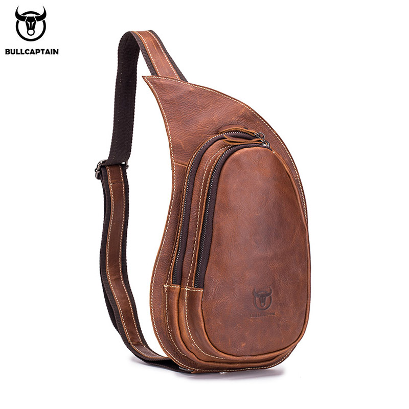 BULLCAPTAIN Leather Crossbody Bag for Men Messenger Crazy Horse Leather Chest Bag Casual Shoulder Strap Pack 2019 New Fashion