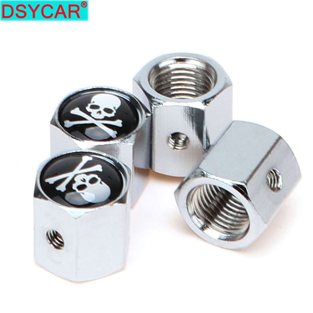4Pcs/Set Classic SKULL Anti-theft Chrome Car Wheel Tire Valve Stem Cap For Car/Motorcycle,Air Leakproof And Protection Your Valv
