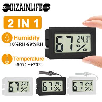 Kryty Mini cyfrowy LCD czujnik temperatury miernik wilgotności termometr miernik higrometrowy instrumenty kabel lodówka termometry tanie i dobre opinie DIZAINLIFE NONE CN (pochodzenie) 105853 50 ° C-69 ° C DIGITAL Gospodarstwa domowego Przycisk Baterii M12 * 1 5 Osadzone