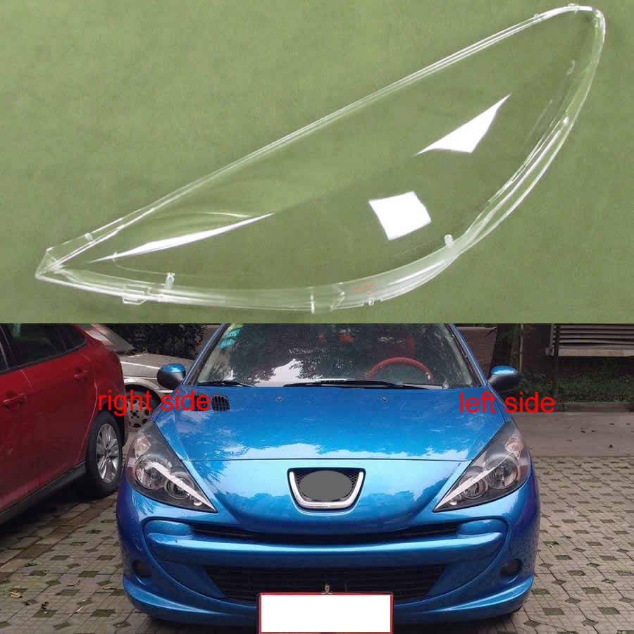 For Peugeot 207 2009 2010 2011 2012 2013 Transparent Lampshade Lamp Shade Front Headlight Cover Shell Lamplights Cover Lens