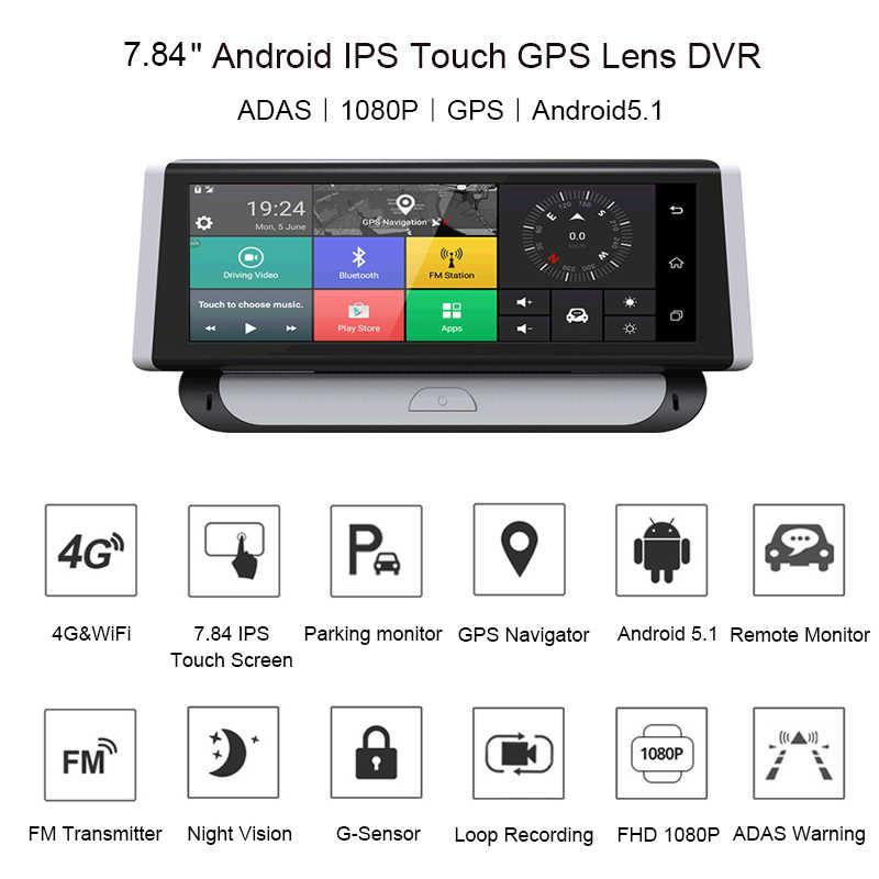 """Anfilite 8 """"dash cam Cámara 4G ADAS GPS de navegación 1080P Android dvr de coche Dual de la Lente de la Cámara Bluetooth con 24H monitor de aparcamiento"""