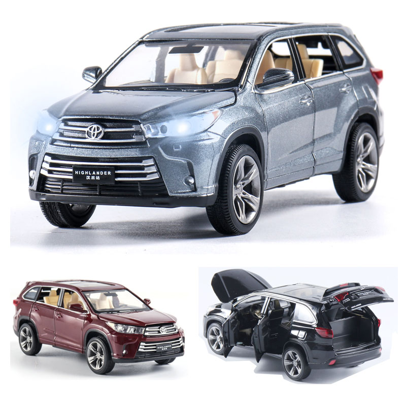 1:32 Toyota Highlander Car Model Alloy Car Die Cast Toy Car Model Pull Back Children's Toy Collectibles Free Shipping