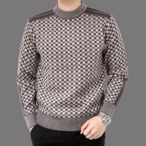 Men's Sweater Pullovers Cashmere-Jacket Wool Knittwear Casual Autumn Slim-Fit Splice