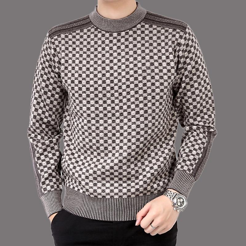 Autumn Casual Men's Sweater Wool 2019 Splice Slim Fit Knittwear Mens Sweaters Pullovers Men Cashmere Jacket