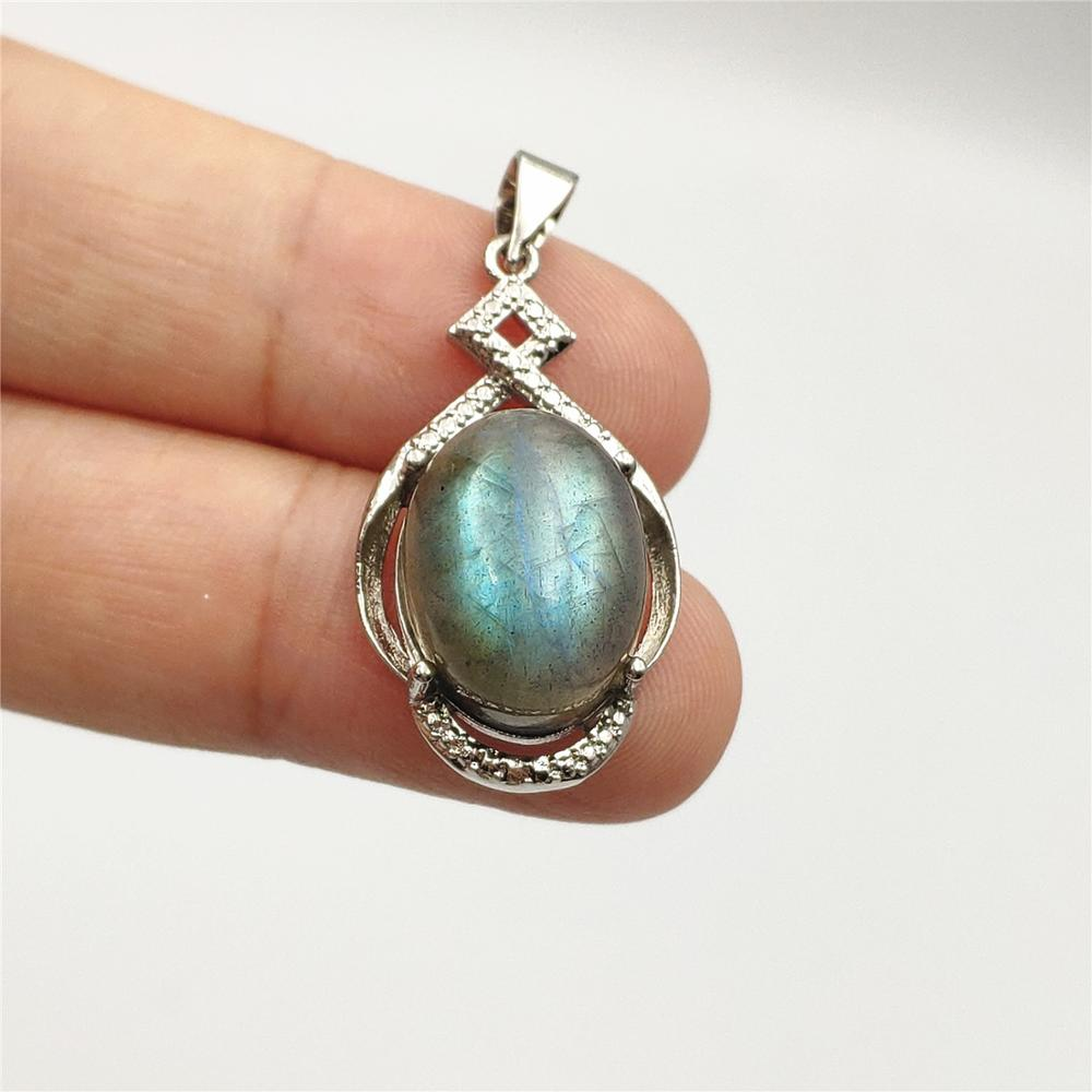 Natural Blue Light Labradorite Women Moonstone Gemstone Pendant 27x15mm Crystal 925 Silver Sterling Necklace Jewelry AAAAA