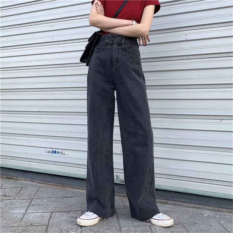 HziriP New Loose High Waist Black Fresh Grey Denim Stylish Women Wide Leg Pants Streetwear Jeans Solid Full-Length Trousers