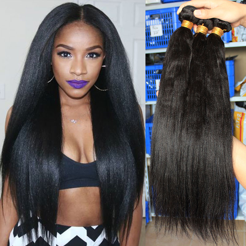 Light Yaki Straight Hair Extension Human Hair Bundles With Closure For Women Kinky Straight Brazilian Hair Weave Bundles Remy