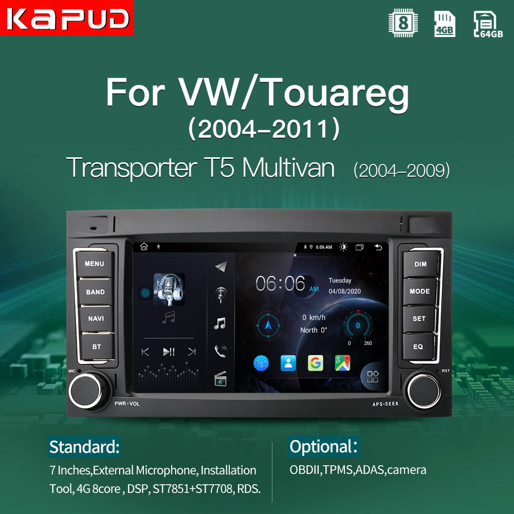 Kapud dsp 4g 7 android android android 10 rádio do carro multimídia gps para vw/volkswagen/touareg/transporter t5 jogador multivan áudio naviagtion