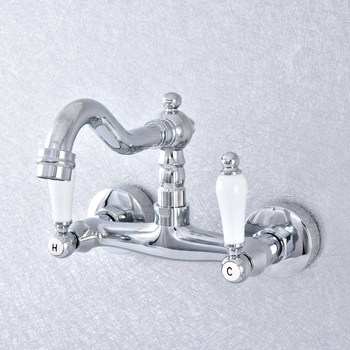Bathroom Polished Chrome Wall Mounted Type Basin Wash Of Cold Hot Water Double Style Faucet Round Base Nsf774
