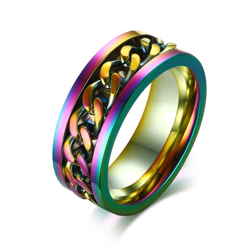 In Acciaio Inox 8 millimetri Arcobaleno Catena Spinner Anello per Gli Uomini Rotativo Gioelleria raffinata e alla moda
