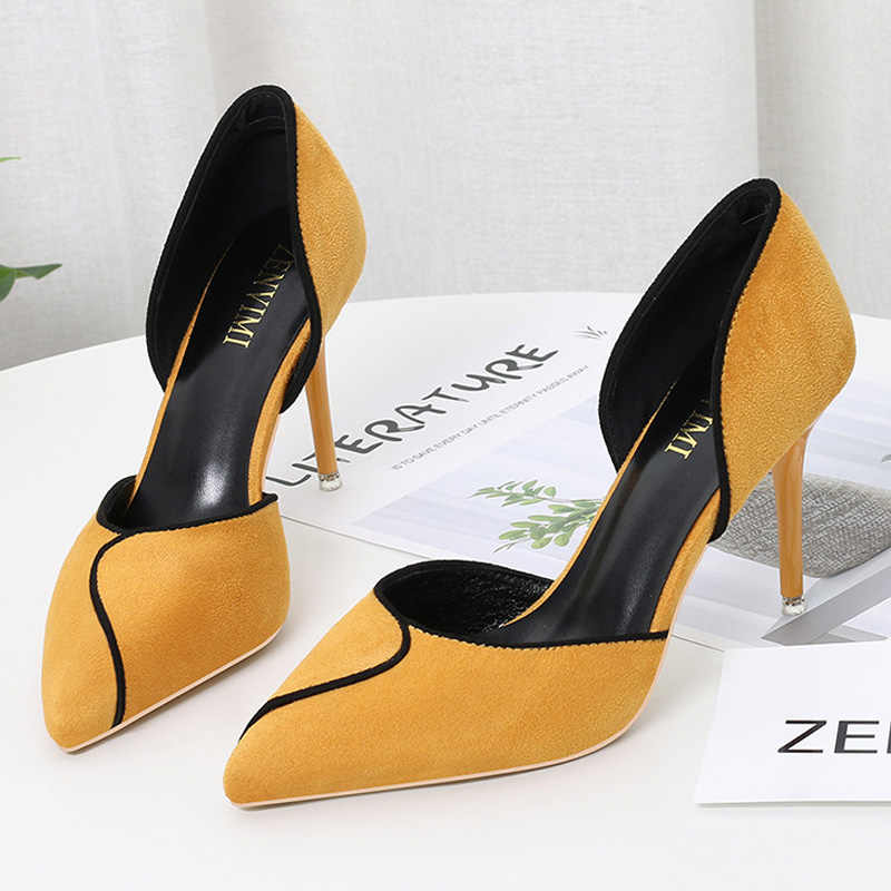 BIGTREE chaussures femmes talons couleur mixte Sexy talons hauts femmes pompes fête mariage chaussures Stiletto pointu chaton talons dames chaussures