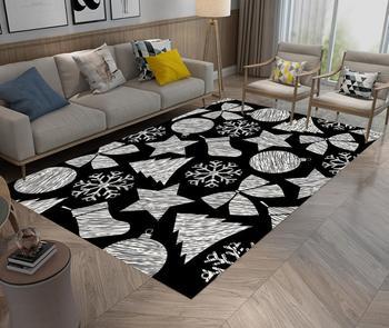 Alfombra de área de Navidad calcetines de Navidad copo de nieve patrón de impresión decoración del hogar para sala de estar dormitorio alfombra de suelo alfombras de juguete para niños