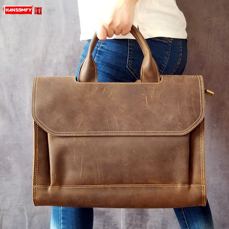 Retro Real Genuine Leather Men's Handbags Male Business 14 Inch Laptop Briefcase Crazy Horse Leather Men Shoulder Messenger Bags