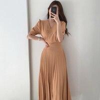 Koreanische Chic Elegant Licht Reife Kleid Zeigen Dünne V-ausschnitt Kleid Frau Taille Länge Kurzarm Plissee Kleid Für Frauen