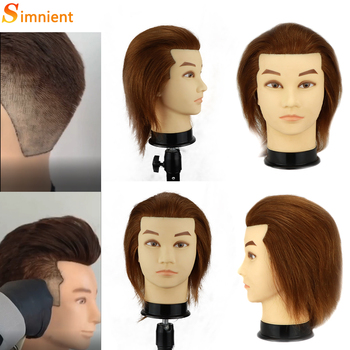 Male Mannequin Training Head Without Beard Hair Dummy Doll Hairdressing Practice Maniqui With Human Haiir For Cutting
