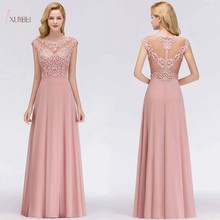 Pink Chiffon Long Prom Dresses 2019 A line Luxury Pearl Sleeveless Gown vestidos de gala