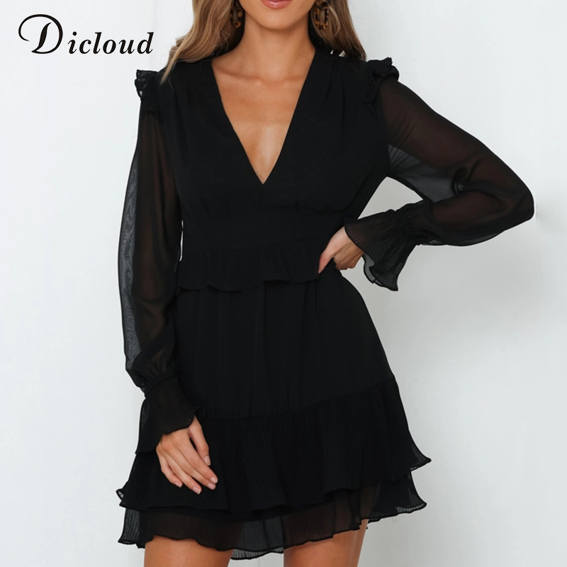 DICLOUD Sexy V Neck Ruffle Mini Party Dresses Black Women Long Sleeve Chiffon Dress 2019 Autumn Elegant Christmas Clothing