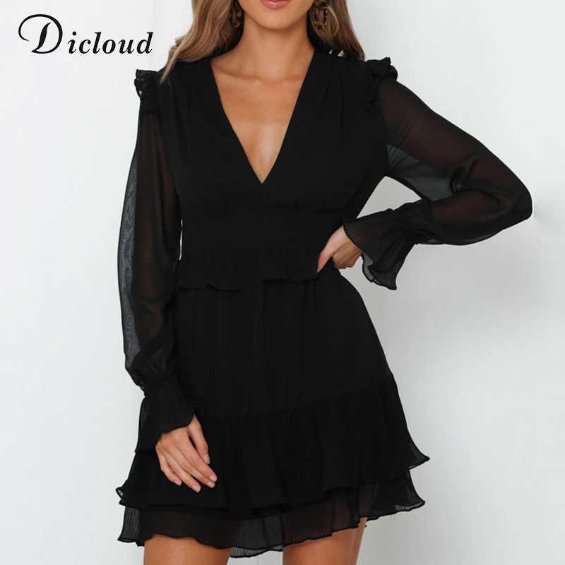Dicstrong Sexy col en V à volants Mini robes de soirée noir femmes à manches longues robe en mousseline de soie 2020 automne élégant vêtements de noël