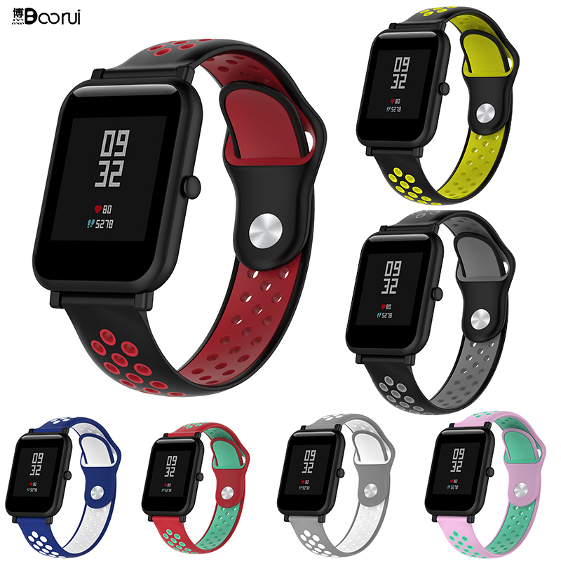BOORUI Watch Band For Huami Amazfit Bip Double Colors 20mm Silicone Replacement  22mm Correa Strap For Xiaomi Amazfit