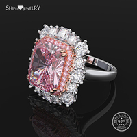 Shipei Princess Cut Pink White Sapphire Rings for Women 925 Sterling Silver Created Moissanite Ring Wedding Coctail Ring