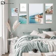 Cuadro de paisaje Oceánico de la costa italiana, póster de viaje Impresión de estilo nórdico, decoración de arte de la pared, imagen de decoración de habitación