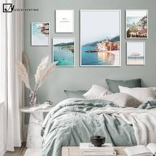 Italia Riviera Coast lienzo pintura paisaje oceánico póster de viaje Impresión de estilo nórdico decoración de arte de la pared moderna imagen decoración de la habitación