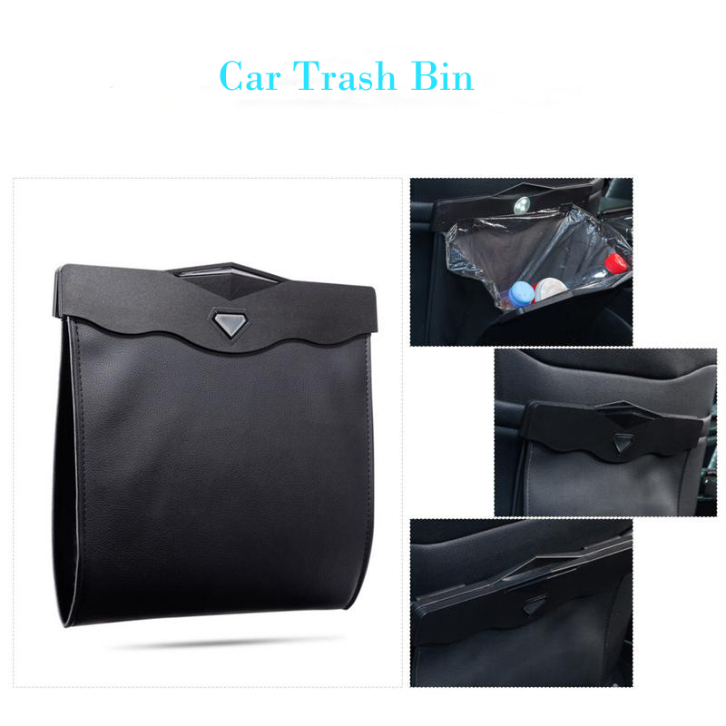 Dual-Use Storage Bag Car Trash Bin Car Back Seat Hanging Organize Box Multi-Function Led Light Garbage Bag Folding Rubbish Can