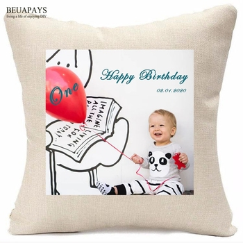 Hot-selling 12pcs cushion Custom picture name date logo linen pillowcase cushion DIY wedding babyshower Furnishing decoration