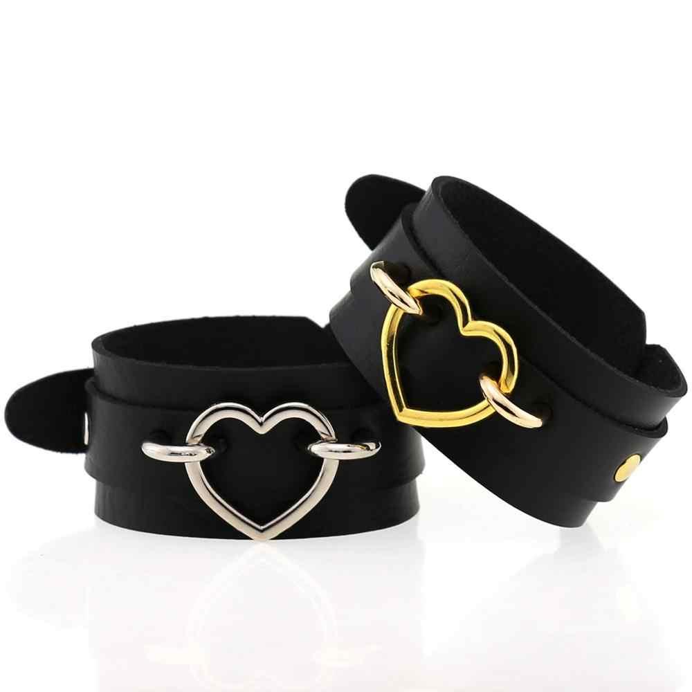 Zwart Lederen Polsband Armband Cuff Gothic Punk Metal Silver Kleur O-Ronde Hangers Armbanden Emo Legering Armbanden Cosplay Sieraden