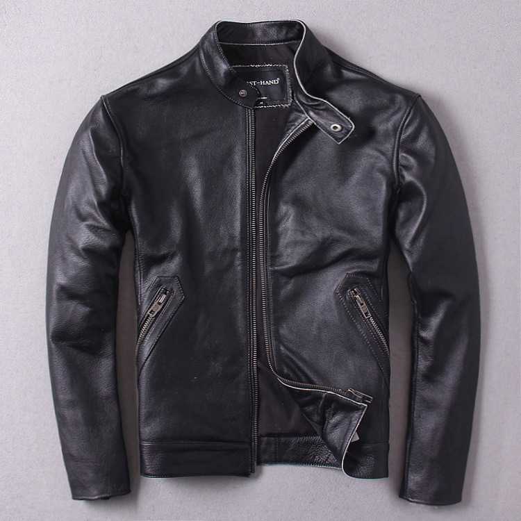 TOP 2020 New Men Black Cowhide Genuine Leather Jacket Casual Cheap Stand Collar Riding Jackets Free Shipping