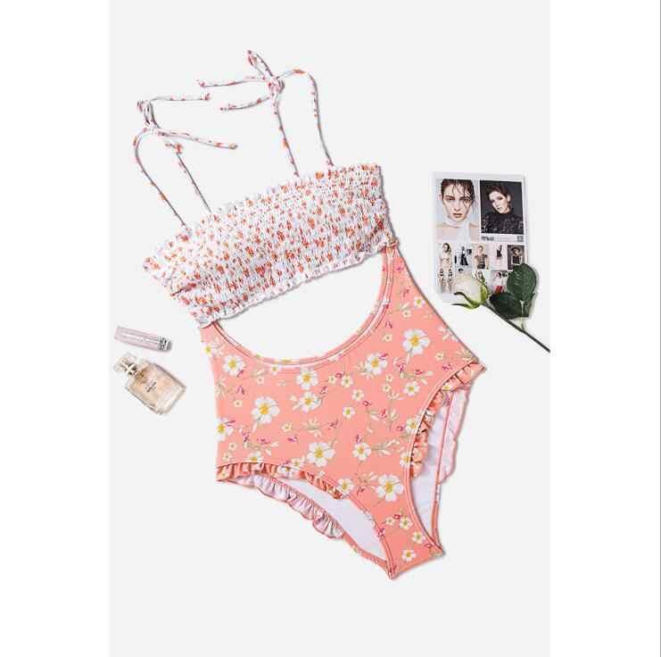Miyouj Baru Sexy Ruffle Floral Bikini Baju Renang Stripe Swimwear Cetak Perban Biquinis Feminino 2019 Baju Renang Wanita Bikini Set