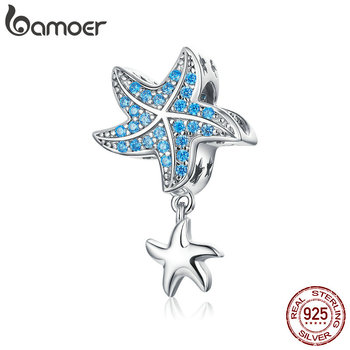 Bamoer Authentic 925 Sterling Silver Blue CZ Starfish Pendant Charm Fit For Women Original Silver Bracelet Jewelry DIY BSC252