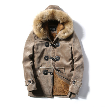 New fashion men Windproof coats Men's hooded fur collar cotton quilted plus velvet warm Jackets loose pockets drop ship clothes