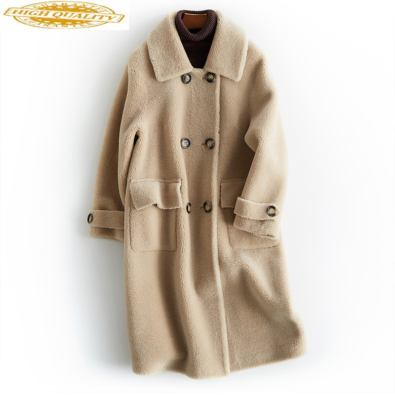 Real Fur Coat Women Autumn Winter 2020 New Wool Coat Female Jacket Sheep Shearing Long Korean Manteau Femme Hiver KJ988