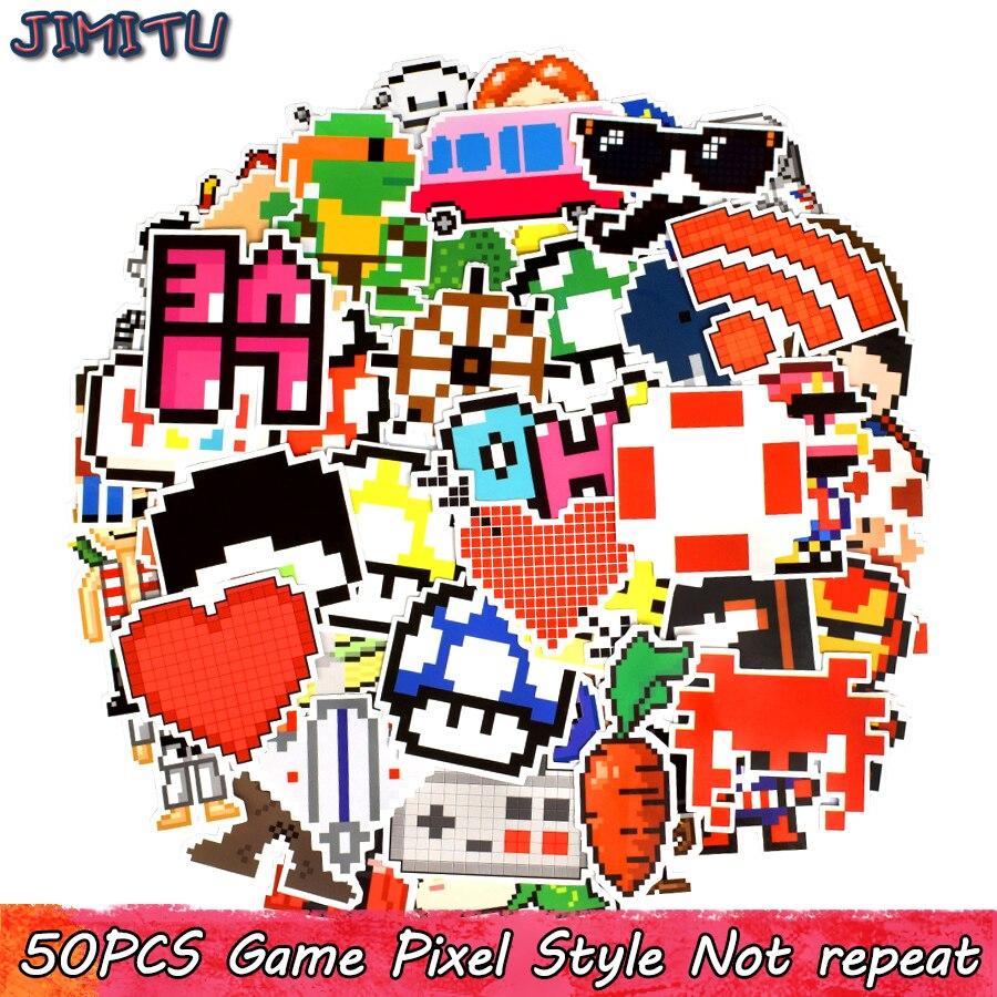 50 PCS Pixel Anime Stickers Packs Game Nostalgic Cartoon Graffiti Kids Sticker For Laptop Phone PS4 Tablet Suitcase Bike Helmet