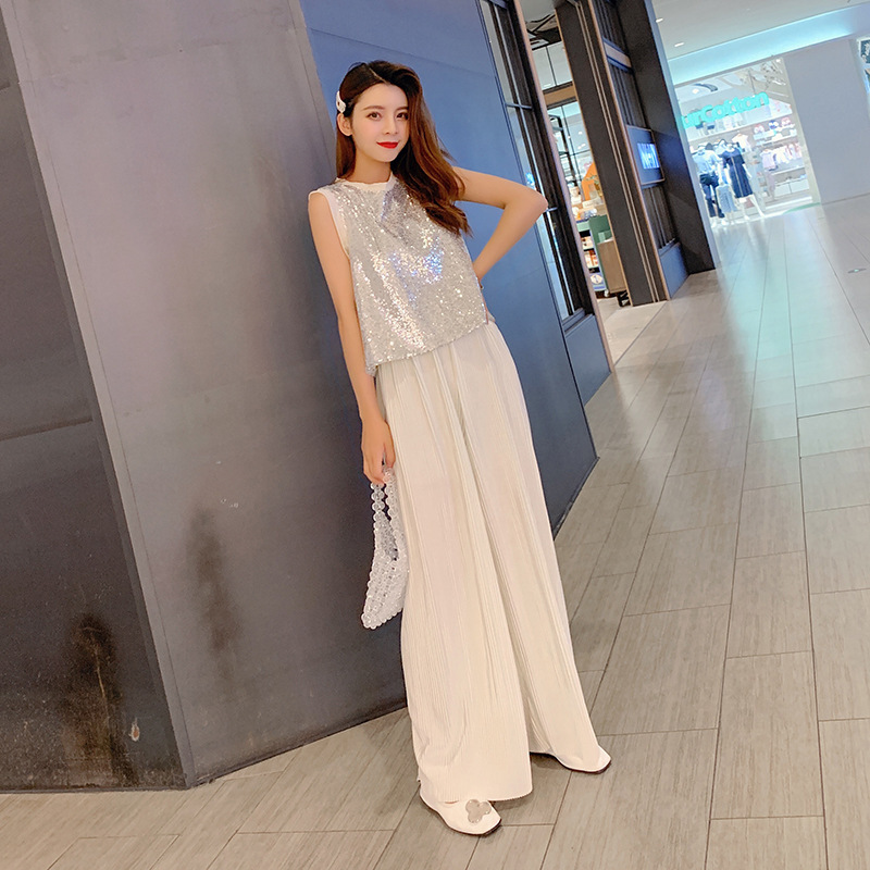 Photo Shoot Set  Summer New Style Korean-style Sequin Vest Tops + Pleated Wide-Leg Trousers Two-Piece Set F7328