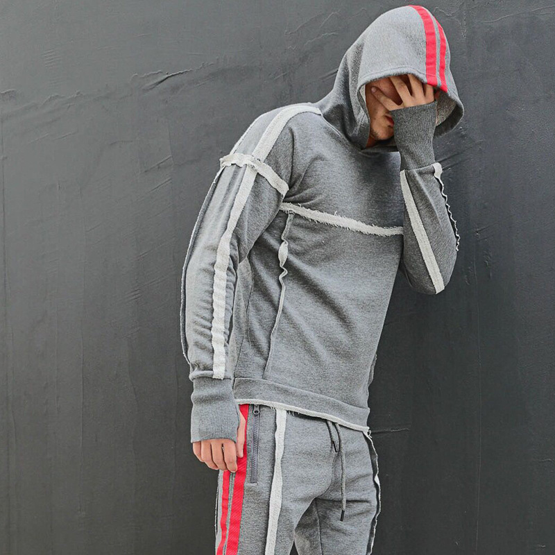 New Striped Hoodie Sets Men Casual Set Men Tracksuit Tracksuit Set Male Sweatshirt Multi-pocket Fashion High Street Jackets Sets