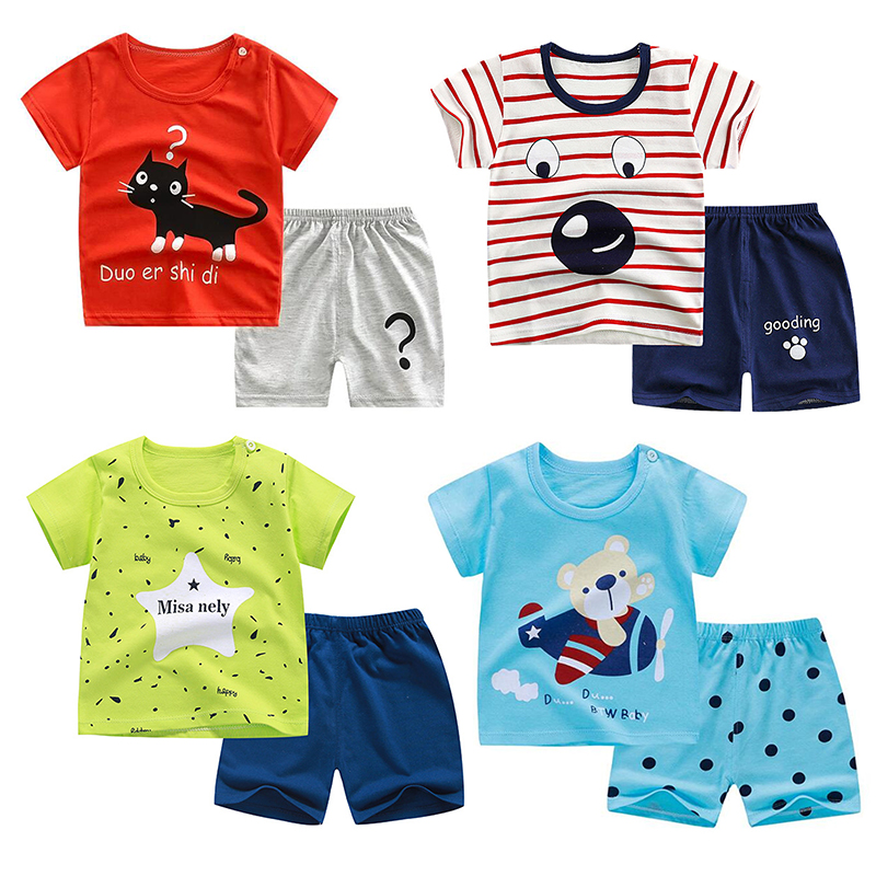 Unisex 12M-4T Baby's Suits 2pc/set Summer Cotton  Short Sleeve Cartoon Baby Girl Boy Suit O-neck Pullover Kids Baby Clothing