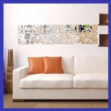 4 pcs/set 3D DIY Acrylic Mirror Wall Stickers Modern Design Home Decoration Sticker vinilos paredes Silver