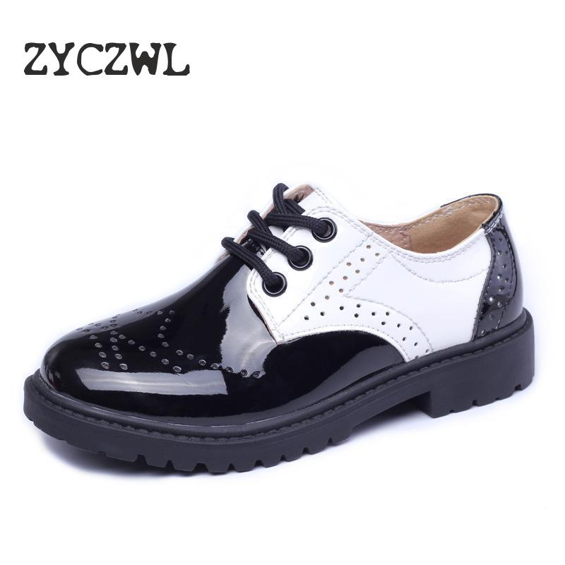 Children Genuine Leather Wedding Dress Shoes For Girls Boys Kids Black School Performance Formal Flat Loafer Moccasins Shoes New