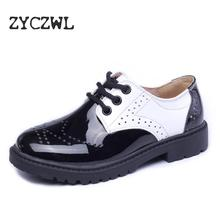 Children Genuine Leather Wedding Dress Shoes For Girls Boys Kids Black School Performance Formal Flat Loafer Moccasins New