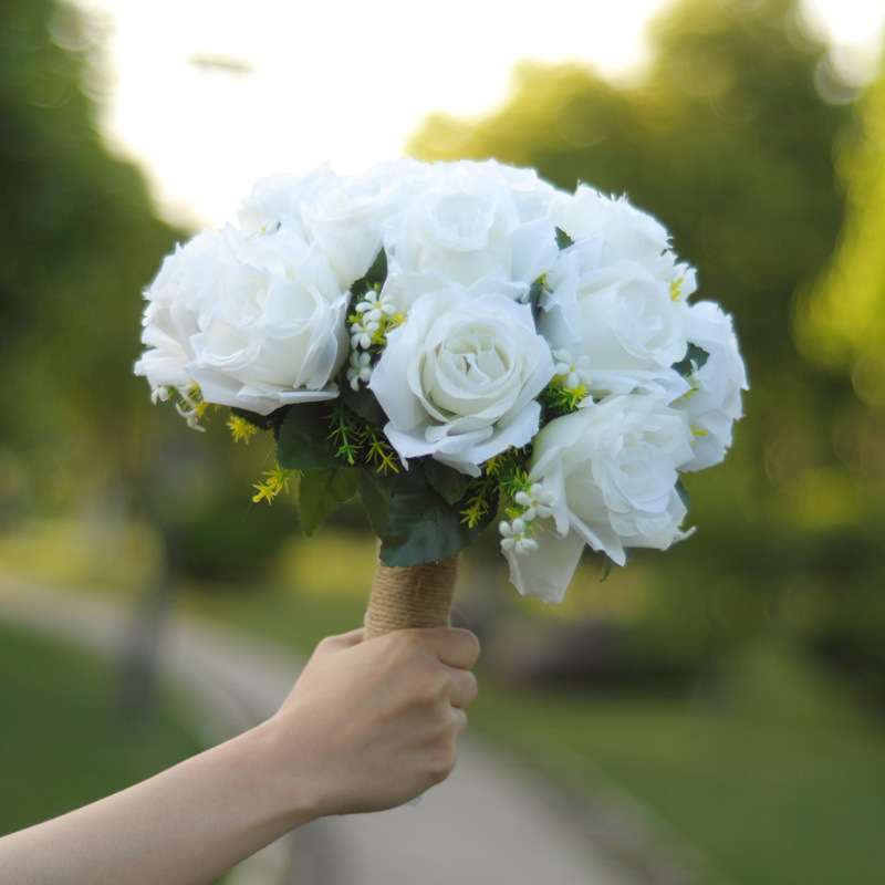 Wedding Flowers Bridal Bouquets White Rose Height 10.23inch Width 5inch Weight 0.245kg Free Shipping Wedding Accessories