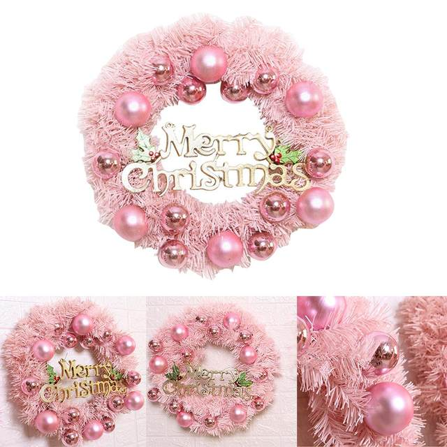 30/40cm Christmas Decoration Pink Christmas Wreath Rattan Ring Shopping Mall Window Scene Ornaments Artificial Christmas Wreath 17